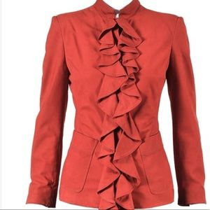 Vintage Rive Gauche YSL suede ruffled jacket.